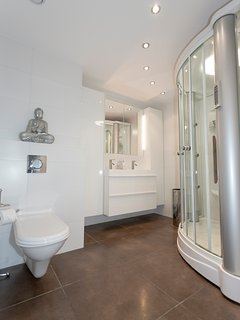Bright 1st bathroom with double sink and a shower with steam bath and massage showers