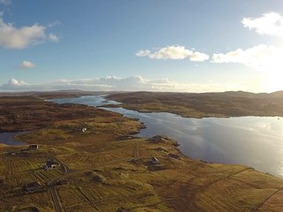 Aerial shot of Taigh Solas, Hacklete, Great Bernera
