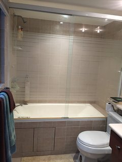 full bathroom with shower & small jacuzzi
