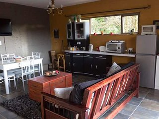Lounge and kitchen area with dstv and wifi. Double sleeper couch