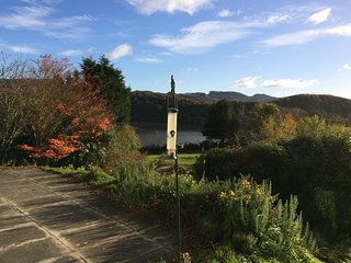 The view of the garden and loch from the south facing terrace.
