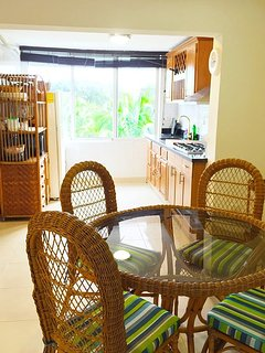 Kitchen and dining area being so close to each other ensures that rice & beans don't get cold!