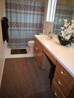 Master Bathroom (full). This bathroom has 2 sinks and a spacious counter top.