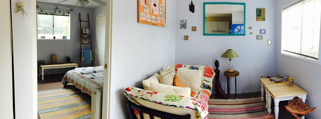 1 bedroom, common area, kitchen and full bathroom.