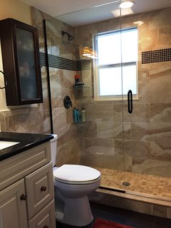 Master bathroom with luxurious walk in shower