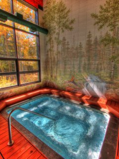 Hot Tub - Relax and ease your muscles in the 10 person indoor hot tub.