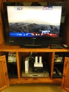 Entertainment - The home entertainment center contains all sorts of unexpected surprises.  A flat panel HDTV,and DVD.