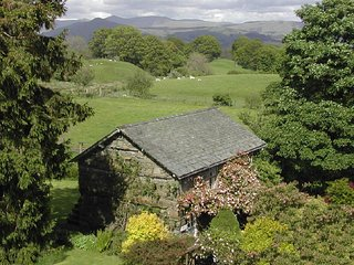 Central Lake District cottage hideaway with private garden away from roads, Hawkshead