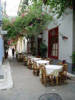 Restaurants in Plaka Market just below Acropolis in Athens