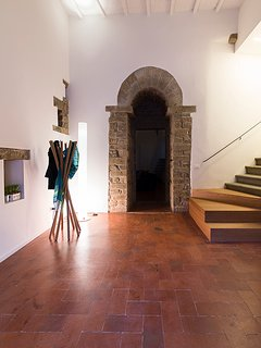 The medieval arch of the Tower leading to the living area