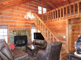 Genuine Log Cabin with Beautiful Long Range Mountain Views on Private 4 Acres