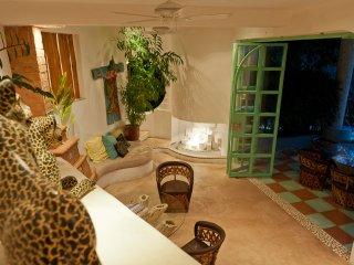 indoor outdoor hangout area.