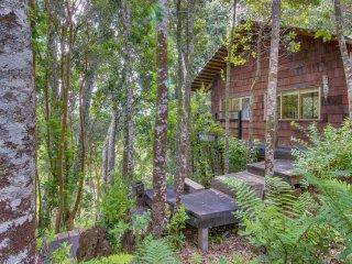 Cabaña entre arboles con fogata al aire libre - Cottage among trees and campfire