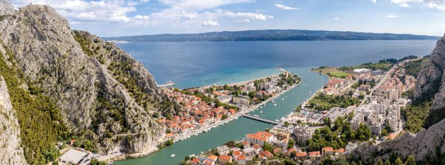 town Omis where river meets the Adriatic sea