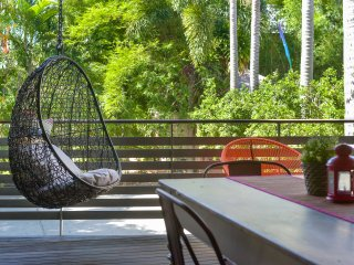 Hanging chair on the Deck
