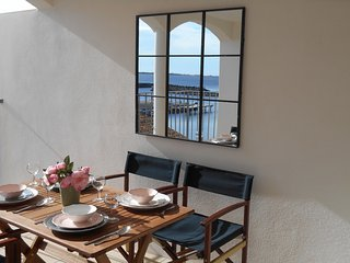 Marseillan lux - water view from sth-facing sunny terrace. Monthly lockdown lets