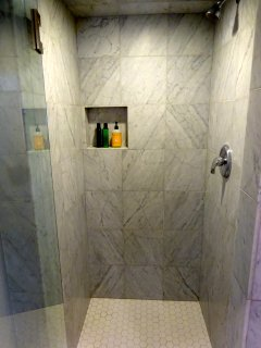 master bath shower, brand new retile