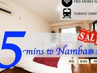 5mins Namba/Dotonbori★Free WIFI★2mins to Sta.★11