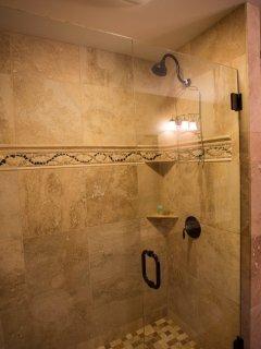 Tile shower in bath