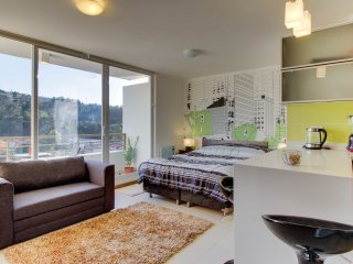 Cozy studio condo with great views features shared hot tub, and sauna!