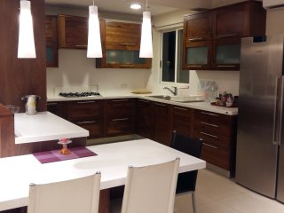 Fully equipped kitchen with   dishwasher, microwave, fridge freezer and free goodies.