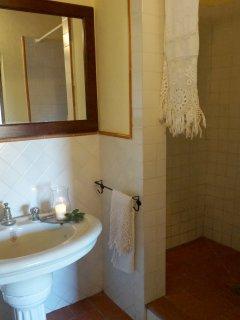 En suite bathroom with walk - in shower on the ground floor