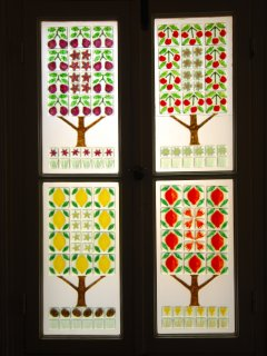 Four Seasons fused glass window