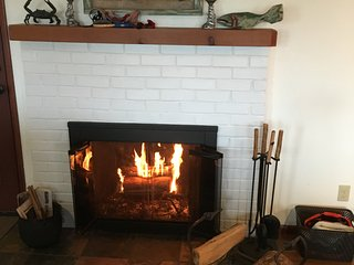 Cozy fire for a rainy day