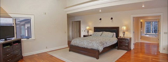Master Bedroom 1 with King Bed, HDTV, Vaulted Ceilings, Dressing Room, Patio, and Private Bathroom