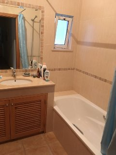 Bathroom with bath shower loo etc
