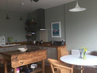 First floor: Light airy open plan kitchen diner.