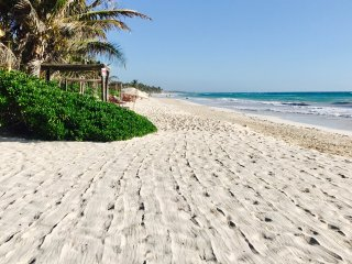 Tulum beach in front of Casa de las Palmas. Raked daily.