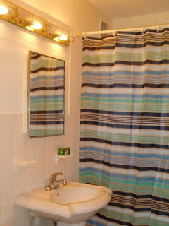 Private bathroom with full bathtub and shower