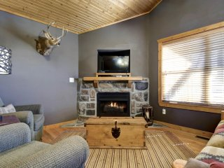 Living room with fireplace , TV, DVR