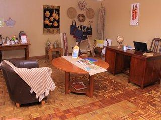 check in desk, self service tea/coffee station
