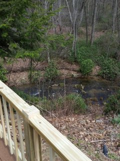 view of stream from deck