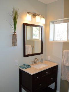 Brand new bathroom super clean - no bathtub, shower only
