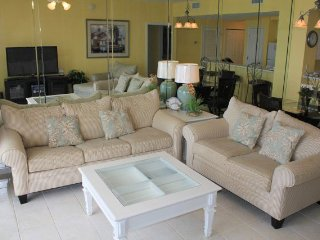 Gulf views from livingroom & master bed! Indoor/outdoor pool, fitness, hot tub!