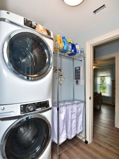 King size GE washer and dryer - Rowena iron, laundry hamper and all the laundry soap you need!