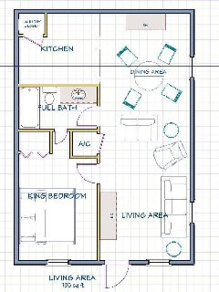 Floor Plan - The open floor plan has 735 sqft of living space.