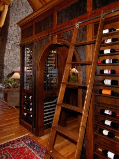 Wine rack with ladder at Sterling Lodge.