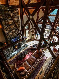 Looking down on the living room at Copperleaf at Eagles Nest.