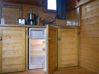 le coin cuisine avec plaque vitro céramique et frigo