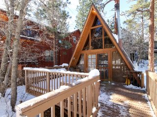 Cozy, clean A-frame cabin with wood stove & deck close to skiing and the lake