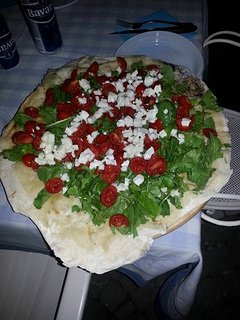 Our pizza 'Italia'prepared by us it is cooked in our wood-burning oven