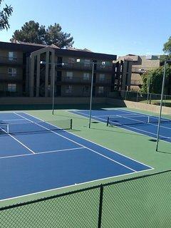 Resurfaced tennis courts