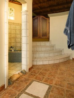Large bathroom area with a shower room