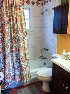 The 2 nd bathroom is conveniently located off the living room. Has a sink, shower and soaking tub.