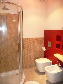 The first modern & spacious bathroom with walk-in shower &WC