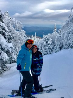 Kevin & Donna skiing at Burke Mountain